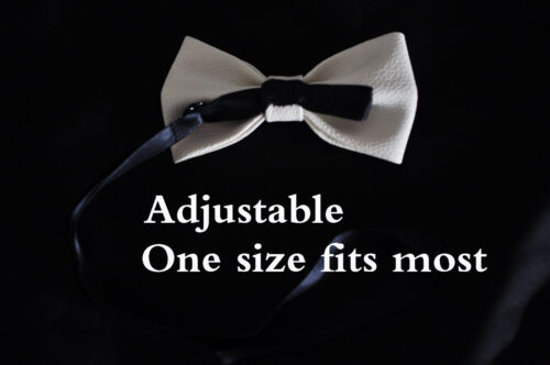 New Men PV Solid Faux White Shining Leather Bow Tie Bowtie Wedding Party