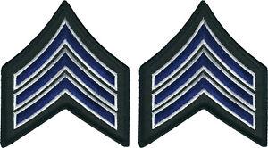 Royal Blue On Black W// Gold Border 1 Pair Sgt Sergeant Chevrons