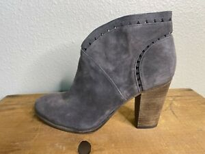 "Vince Camuto Booties Boots Women 10 Gray Suede Zip Up 4"" High Round Toe Western"