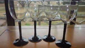 Black twisted stem wine glasses Water goblets Mikasa 4 9 oz elegant twisted stem