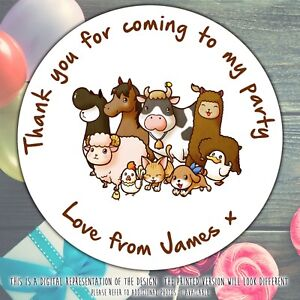 Personalised-Farm-Animals-Birthday-Party-round-stickers-labels-party-cone-sheet