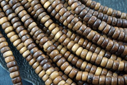8mm x 3.5mm Roble Pucalet Roundelle Premium Wood Beads 110 beads per pack R14