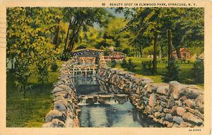 Postcard-Beauty-Spot-In-Elmwood-Park-Syracuse-NY-Posted-1938