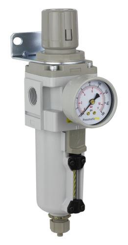 FactoryDirect Air Filter Regulator Piggyback 1/2 Manual Drain Metal Bowl FRL