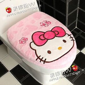 Pink Cute Hello Kitty Bow Toilet Seats Lid Cover Set EBay