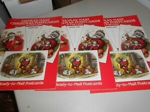 Lot of 3 Partial Thomas Nast Ready To Mail Christmas Cards Reproduction Books