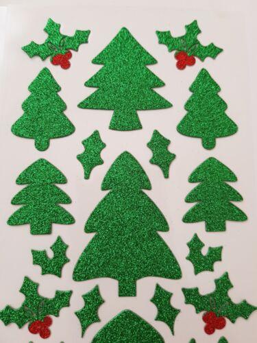 15MM-70MM tarjeta 64 Pegatinas de acebo//árbol De Navidad-Navidad Brillo Etiqueta Engomada arte