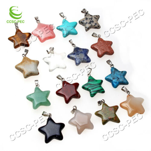 Wholesale Beautiful 10Pcs Mixed Natural Gemstone Star Pendentif Bead Free