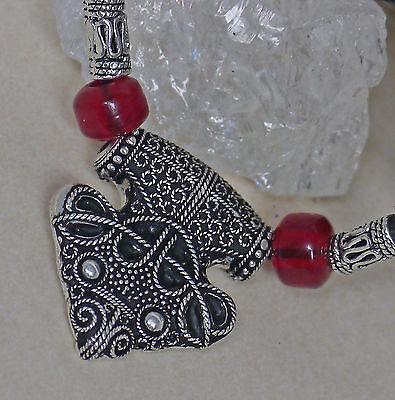 Thorhammer V Sigtuna Rabe Raben-amulett Bronze Versilbert Lederschnur Glasperlen