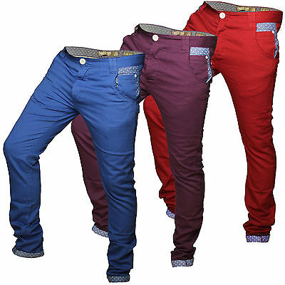 """Soulstar"" Mens Slim Chino Jeans Polka Dot Detail Denim Bottoms Trousers Pants"
