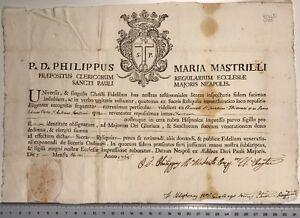 Autentica Reliquia Philippus Maria Mastrilli Napoli documento 1768