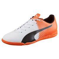 PUMA Mens evoSPEED 5.5 Indoor Soccer Shoes (White/Black/Orange)