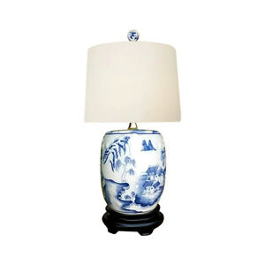 Details About Chinese Blue And White Porcelain Mini Garden Stool Willow Table Lamp 17 5