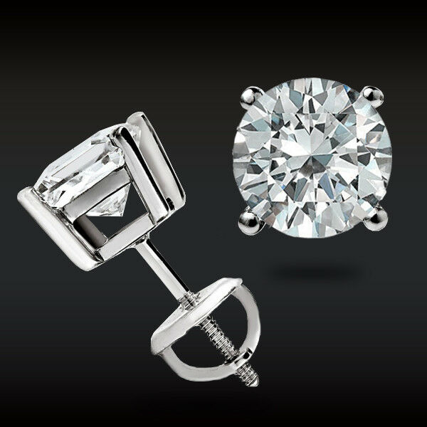 Real 14k White Gold 1ct Brilliant Created Diamond Earrings Round Stud Back Ebay