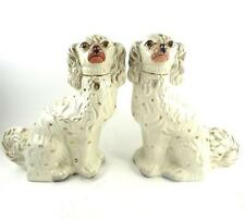 PAIR ANTIQUE ENGLISH VICTORIAN STAFFORDSHIRE POTTERY WHITE SPANIEL DOGS b