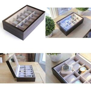 Solid Espresso Wood Watch Box Organizer With Glass Display Top 12 Slot By Case E
