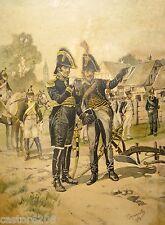 TANCONVILLE estampe encadrée 1911(5) UNIFORMES 1810 Général en service & Dragon
