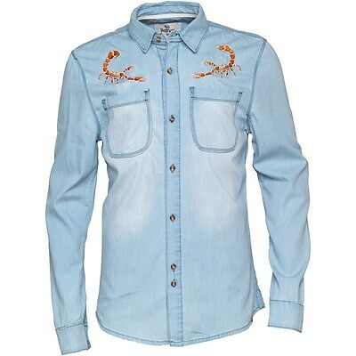 Genuine Bellfield Scorpion Embroidered Men's Payote Light Denim Shirt