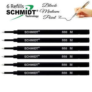 6-brand-new-Schmidt-888-Medium-Rollerball-Pen-Refills-Black-Made-In-Germany