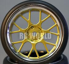 RC Car 1/10 DRIFT WHEELS TIRES Package 3MM Offset GOLD  W/ CHROME LIP Web