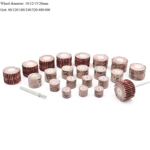 10 x 10//12//15//20mm Flap Sanding Wheel Disc with 2 Mandrel 80-600 Grit for Dremel
