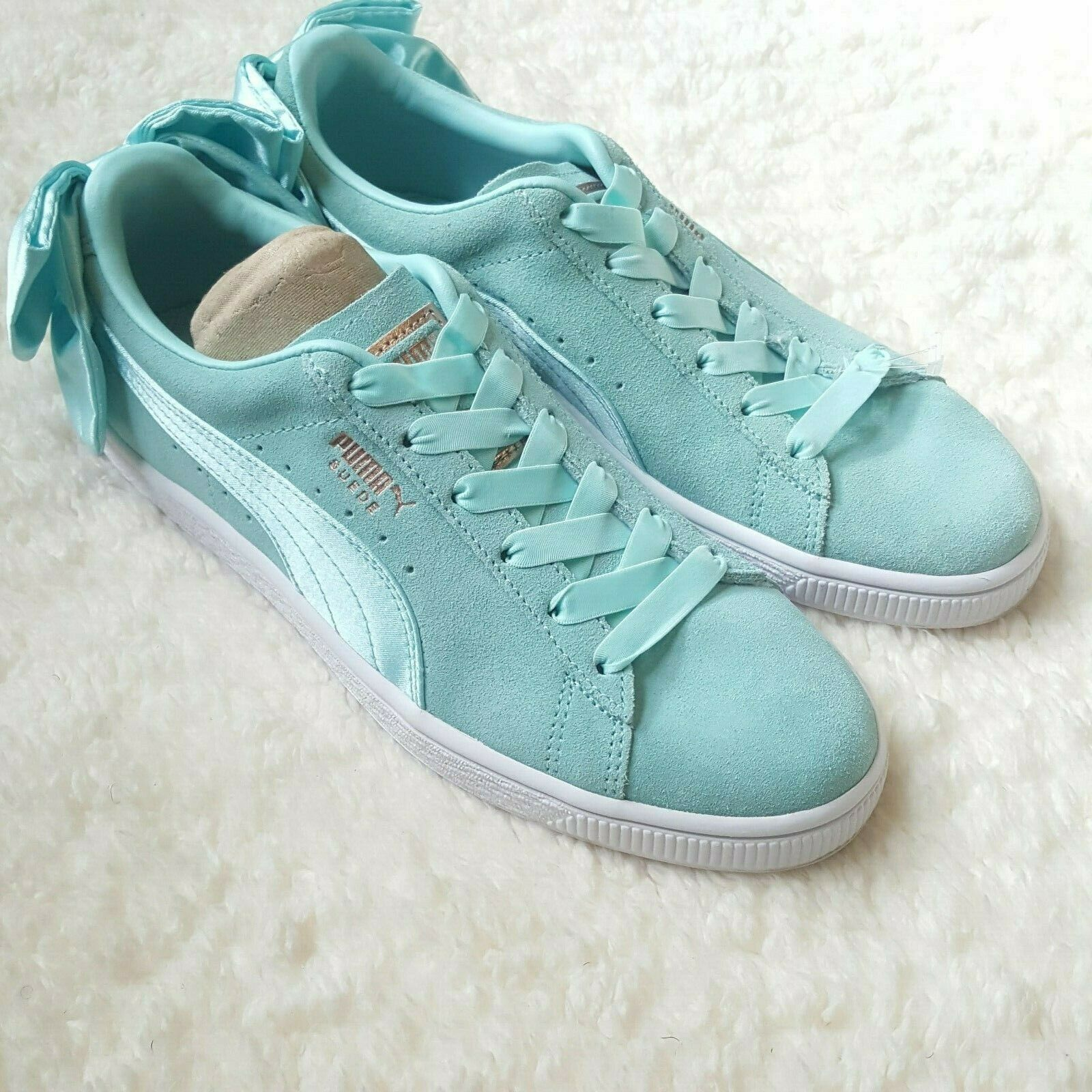 PUMA Suede Bow Women's Sneakers Athletic Shoes Size 7.5 Island Paradise NWB