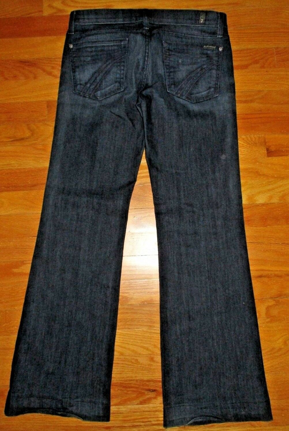 7 For All Mankind Dojo Jeans Distressed Dark Wash Wide Leg Flare Size 29