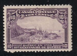 CANADA-NO-101-WOLF-QUEBEC-VIEW-IN-1770-FROM-1908-QUEBEC-ISSUE-FVF-MINT-HR