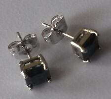 Square 6.5mm black onyx, silver (WHITE GOLD gf) stud earrings BOXED Plum UK