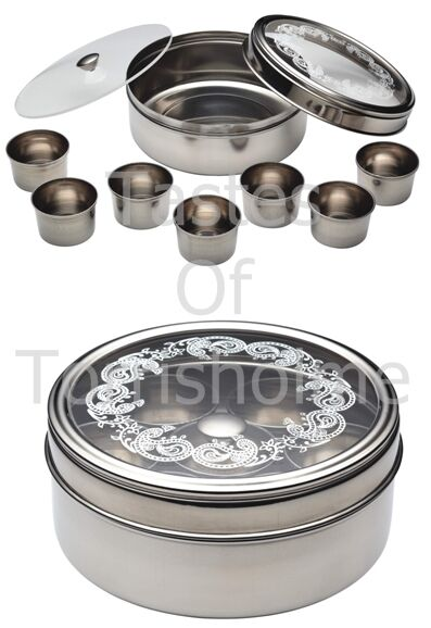 Indian Stainless Steel 17cm Masala Dabba Set Kitchen Craft World Of