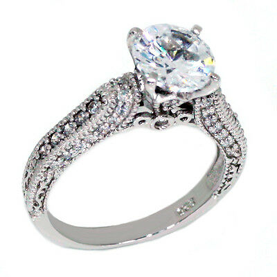 Vintage Engagement Ring Solitaire & Accents .925 Sterling Silver
