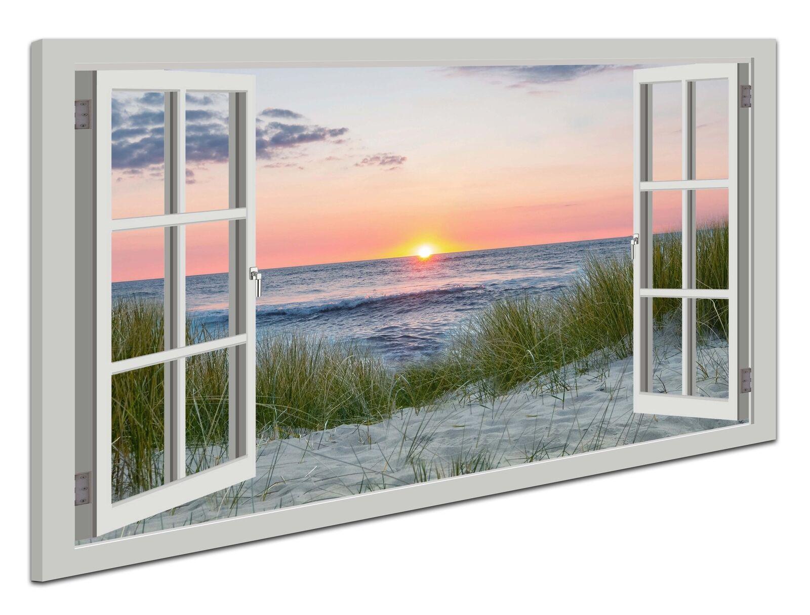 Leinwand Bild Wandbild Fensterblick Strand Meer Nordsee Sonnenuntergang Landscha
