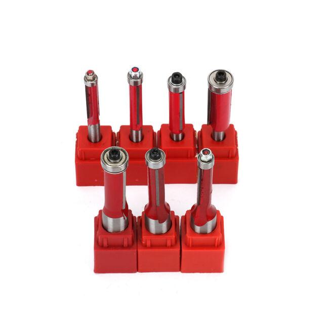 4x Wood Edge Cutting End Dual Flute Bearing Cutter Bits Tool Flush Trim Router