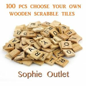 100-CHOOSE-YOUR-OWN-Wooden-Scrabble-Tiles-Letters-Crafts-Board-Game-Toy-Gift