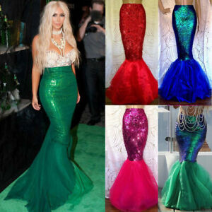 Womens Sequined Mermaid Fish Tail Skirt Party Maxi Fancy Dress Cosplay Costumes