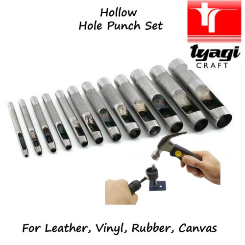 12PC Strong Hollow Leather Rubber /& Vinyl Hole Gasket Punch Set Belt Plastic