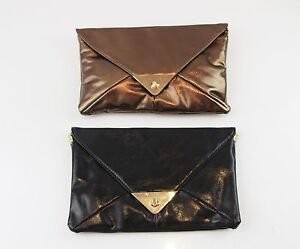 WOMENS-RECTANGLE-ENVELOPE-CLUTCH-BROWN-BRONZE-BLACK-WEDDING-PARTY-BIRTHDAY-BAG