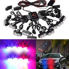 1 Kit LED Red Blue Car Emergency Warning Strobe Lights Bars Deck Dash Grille