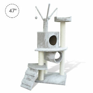 47-034-Cat-Tree-Scratching-Post-Tower-Kitty-House-Condo-Tunnel-Ladder-w-Toy-Grey