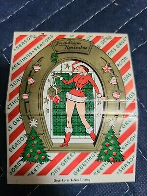 Vintage Original HORSESHOE CLUB Pinup Matchbooks XMAS HOLIDAY Matches 1960s