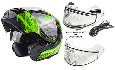 New Modular Snowmobile Helmet Heated OR Double Shield Pink Adult DOT