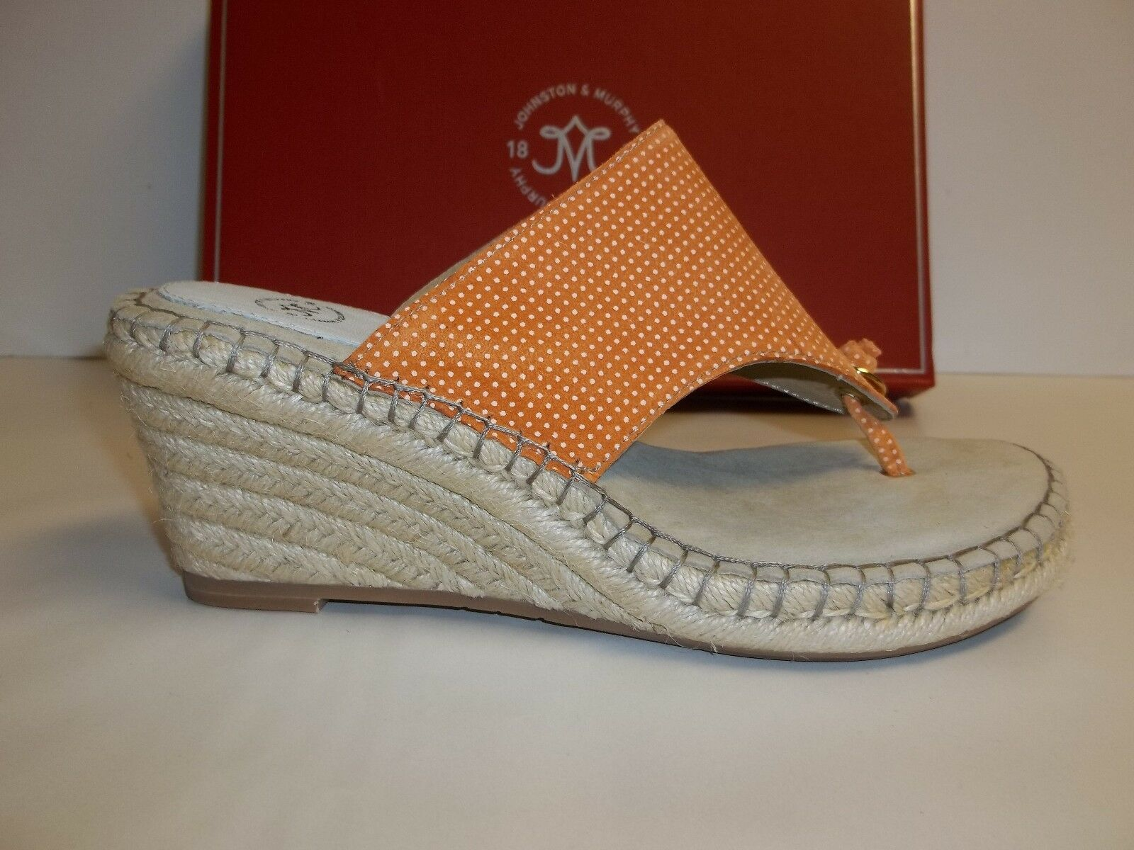 Johnston & Murphy Size 8 M AINSLEY orange Suede Thong Sandals New Womens shoes