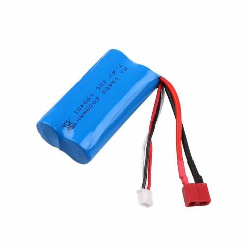 2000mAh 7.4V 2S Lipo Akku T-Stecker mit USB Ladegerät für RC Auto Off Road Truck