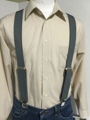 "Made in the USA Men/'s New 1.5/""  Suspenders // Braces Medium Gray XL Adj"