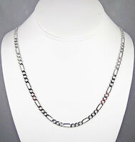 Mens 4mm 14k White Gold Finish Silver Premium Quality Figaro Link Chain Necklace