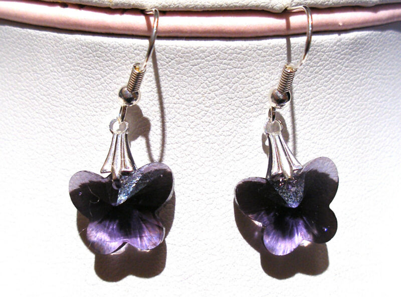 'aaa' Grade Purple Crystal Glass Butterfly Earrings Silver Plated Hooks