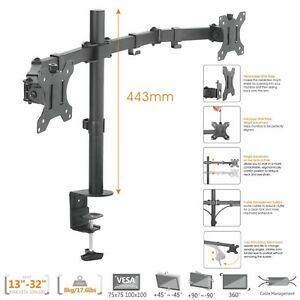 Dual-LCD-LED-Monitor-Desk-Mount-Stand-Fully-Adjustable-upto-32-034-80-161