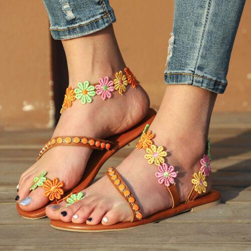 Summer Flower Rhinestone Flat Sandals Womens Toe Ring Flip Flops Casual Shoes