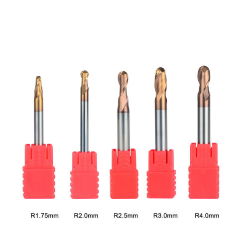 Radius 1.75mm-4mm Carbide End Mill Set For Steel 2 Flute CNC Milling Cutter 5Pcs