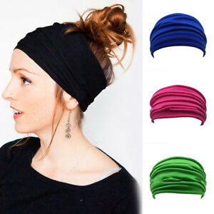 Women Elastic Pleated Hair Band Wide Yoga Headband Running Head Wrap ... 4f78b9b2118